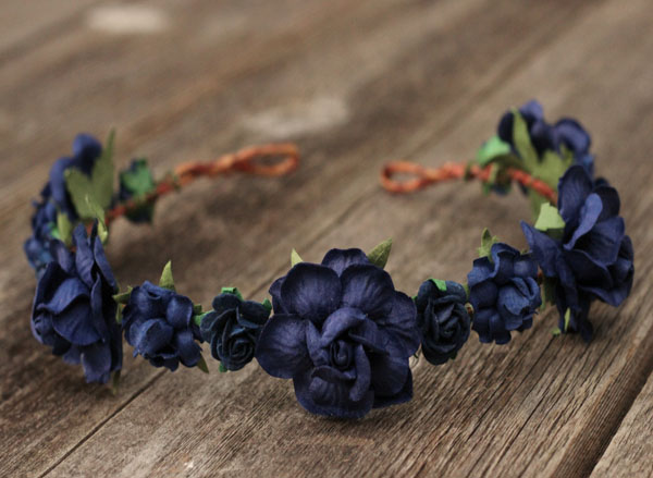 Navy Flower Crown Wedding Floral Hair Wreath